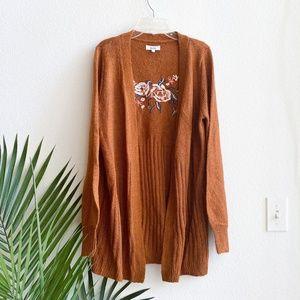 mudd/ rust orange knit embroidered cardigan M